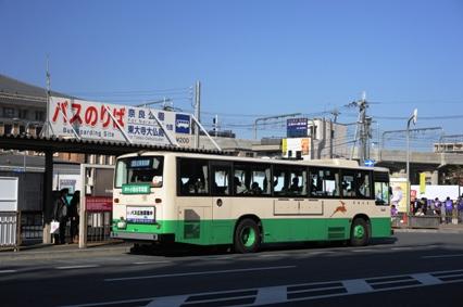 近鉄奈良駅までの運行を再開した奈良白土線のバス