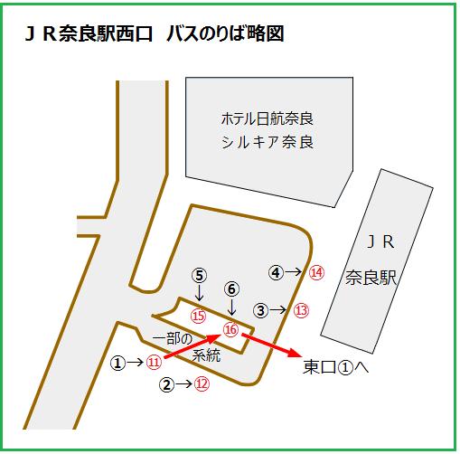 JR奈良駅西口バスのりば略図