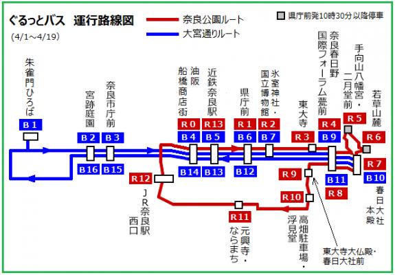 2019年4月1日から19日までのぐるっとバス路線図