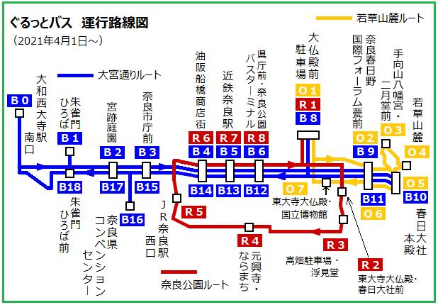 ぐるっとバス運行路線図(2021年4月1日から)